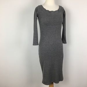 DL boat neck off shoulder grey body con dress S